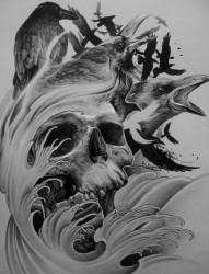 一款乌鸦和骷髅的纹身素材