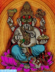 坐着莲花的象神纹身作品