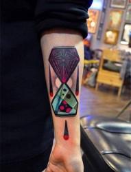 手臂个性彩色纹身作品