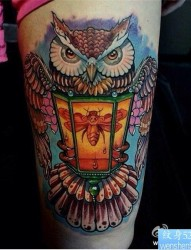 腿部个性彩色猫头鹰纹身图案