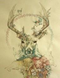 羚羊纹身手稿图案