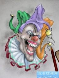 一款个性的小丑纹身手稿图案