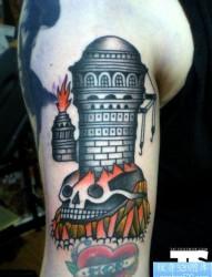 胳膊个性骷髅头高塔纹身图案