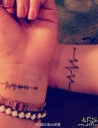 情侣心电图纹身图案由纹身520图库