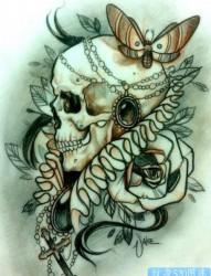 欧美骷髅头纹身图案