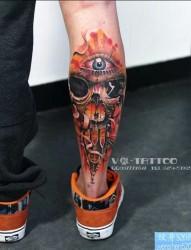 一款腿部彩色个性骷髅头眼睛纹身图案