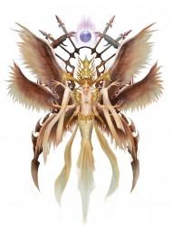 一款六翼天使纹身图案
