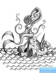 一款鱼纹身图案