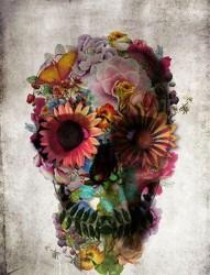 个性彩色骷髅头纹身图案