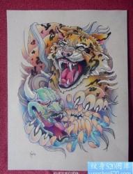 一款适合做满背的老虎纹身手稿图案