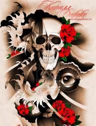 一款欧美骷髅玫瑰纹身图案