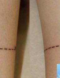 小清新腿部情侣纹身图案