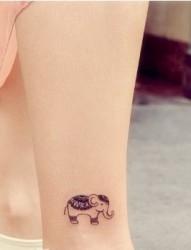 女性脚部小象刺青