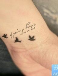 小清新手部和平鸽纹身图案