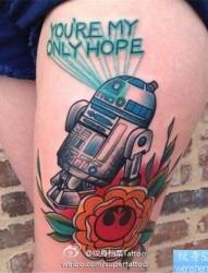 腿部彩色机器人纹身图案