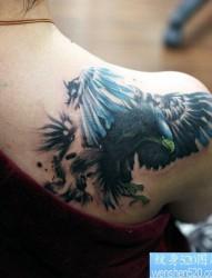女性肩部老鹰纹身图案