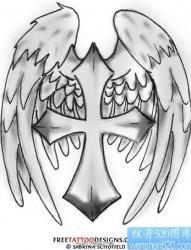 一组十字架纹身图案