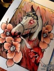 彩色马纹身图案