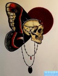 骷髅蝴蝶纹身手稿图案