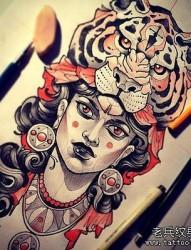 虎头女郎纹身手稿图案