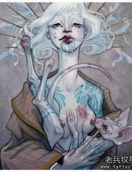 彩色人物女郎纹身手稿图案