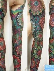 彩色花臂纹身图案
