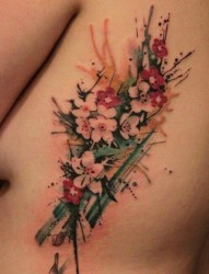 个性彩色的泼墨纹身图案