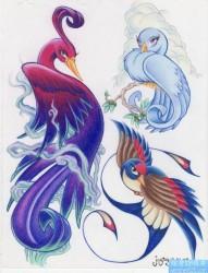 一组彩色凤凰纹身手稿图案