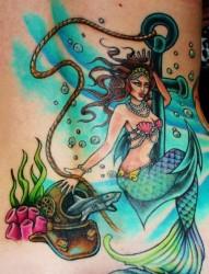 腰部彩色美人鱼船锚纹身图案