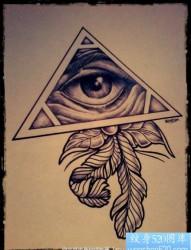 上帝之眼羽毛纹身图案手稿图案