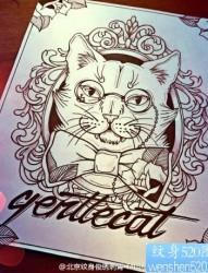 卡通猫咪纹身手稿图案