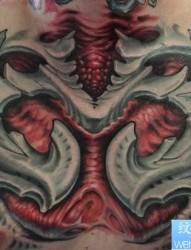 胸口3D机械纹身图案