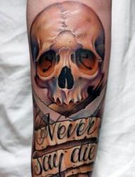 一款腿部欧美骷髅英文纹身图案