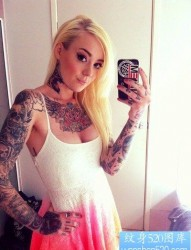 女性花臂彩色tattoo girl纹身图案