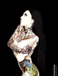 时尚妹子的纹身图案写真
