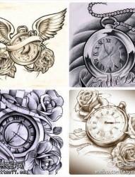 一款怀表纹身手稿图案