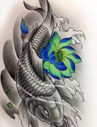 莲花鲤鱼纹身图案