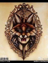 纹身520图库体推荐一款狐狸纹身纹身图案