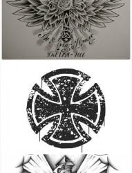 一款个性十字架纹身手稿图案
