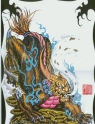 一款彩色招财神兽貔貅纹身图片