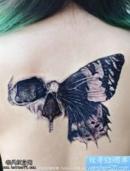 女性背部黑灰骷髅蝴蝶翅膀纹身图片
