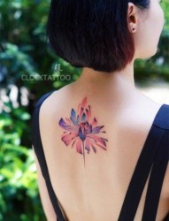纹身520图库提供一款女性背部彩色莲花刺青图片