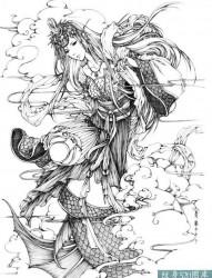 一组梦幻美丽的女孩纹身手稿套图