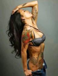 一组梦国外女子纹身图案