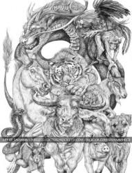 满背的十二生肖纹身手稿图案
