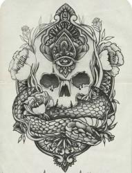 骷髅牡丹花上帝之眼蛇纹身手稿图案