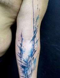 手臂漂亮好看的水墨纹身
