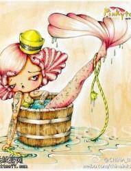 彩色卡通美人鱼纹身图片