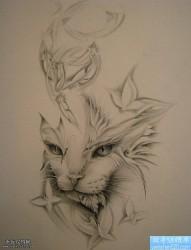 一款黑灰猫咪纹身手稿图案