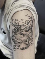 一款手臂黑灰羚羊纹身图案